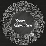 Wreath made of line icons. Sport, fitness and recreation equipment. Outdoor, tourism and hiking, Rafting and kayaking. Chalk board Stock Photography