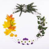 Wreath made of natural material, symbolizing the seasons of the royalty free stock photos