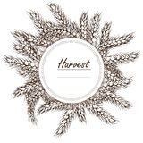 Wreath made of rye and wheat. 3d icon vector. Horizontal label. For design, logo, symbol, cooking, bakery, tags, labels. Wreath made of rye and wheat. 3d icon Royalty Free Stock Photos