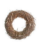 Wreath made with straw. Isolated on white background Stock Photography