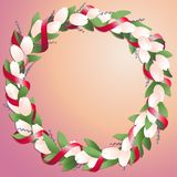 Wreath made from tulips and springs with bright red silk ribbon vector illustration