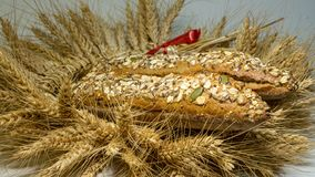 The wreath is made from wheat ears in it freshly baked two loaves of bread with grains , sunflower, pumpkin, oatmeal. Do it yourself, golden ears of grain royalty free stock photo