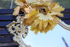 Wreath from maple leaves on a mirror in sky reflexion Stock Photos