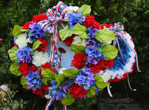 Wreath on Memorial Day at military memorial in Brooklyn. Wreath on Memorial Day at military memorial stock photography