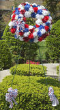 Wreath on Memorial Day at military memorial in New York Royalty Free Stock Images
