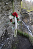 Wreath in memory of Sherlock Holmes at the famous Reichenbach Waterfalls. In Meiringen, Switzerland Stock Photos