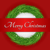 Wreath with Merry Christmas text. Red Background Stock Photography