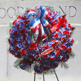 Wreath at military memorial in New York. NEW YORK - JUNE 1, 2014: Wreath at military memorial in New York royalty free stock photo
