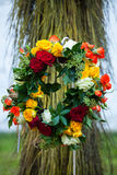 Wreath of multicolored roses Royalty Free Stock Images