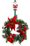 Wreath No. 2. Hanging Christmas wreath with Santa Claus Royalty Free Stock Images