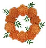 Wreath of orange marigolds. Vector illustration isolated on white Royalty Free Stock Photography