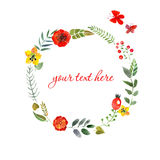Wreath of painted watercolor Royalty Free Stock Photography