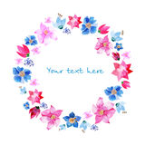 Wreath of painted watercolor flowers Stock Photo