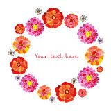 Wreath of painted watercolor  flowers Royalty Free Stock Image