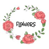 A wreath of peonies hand-drawing. Vector illustration.  royalty free illustration