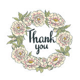 Wreath of  peonies. Hand drawn artwork. Thank you card. Royalty Free Stock Photo