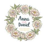 Wreath of  peonies.  Hand drawn artwork. Wedding card. Royalty Free Stock Photography