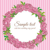 Wreath of peony flowers vector frame. Vector illustration of peony flowers wreath frame Stock Photography