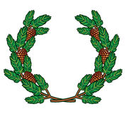 Wreath of pine branches stock illustration