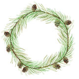 Wreath of a Pine branches and bump. Garland of a twig.Invitation card.Watercolor hand drawn illustration Royalty Free Stock Photos