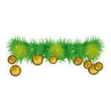 Wreath with pine leaves and golden garlands Stock Photo