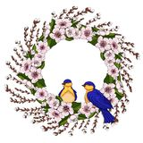 A wreath of pink cherry flowers with bright green leaves and young willow branches with spring birds. Natural round frame for text stock illustration