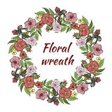 A wreath of pink flowers. Vector illustration stock illustration