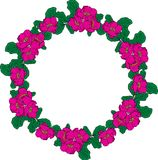 Wreath of pink peonies and green leaves Stock Photo
