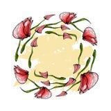 Wreath of pink tulips stock image