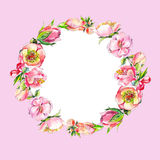 Wreath of pink watercolor flowers. Stock Photo