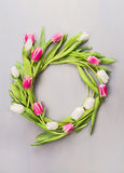 Wreath of pink and white tulips on a gray wall Stock Image