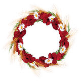 Wreath of poppies, daisies and ears of wheat Royalty Free Stock Photos