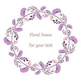 Wreath with purple and pink flowers and branches. Wreath with purple and pink doodle hand drawn flowers,branches,leaves and berries.Floral frame for your design vector illustration