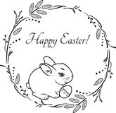 Wreath with rabbit. Vintage design for Easter greeting card royalty free stock photo