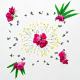 Wreath with ranunculus pink rose fern and field flowers Stock Photo