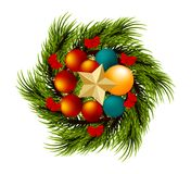 Wreath realistic Merry Christmas branch pine tree. Realistic Merry Christmas wreath branch pine tree ball template. Xmas golden conifer vector illustration Royalty Free Stock Photo