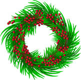 Wreath with red berries Stock Images