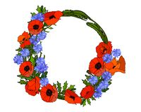 Wreath of red and blue flowers. Poppies and cornflowers. royalty free illustration