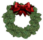 Wreath with Red Bow. Full and leafy wreath with a 3d bow with space for text in the center Royalty Free Stock Images