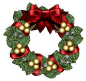 Wreath with Red Bow & Gold Balls. Full and leafy wreath decorated with a big 3d bow, silver balls, snowflakes and wrapped ribbon. And a with space for text in Royalty Free Stock Photography