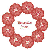 Wreath of Red Flowers, floral round frame, vector illustration. Greeting card with red flowers. Stock Image