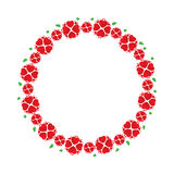 Wreath of red flowers like hearts Stock Images