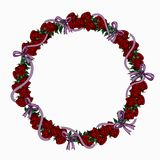 Wreath of red roses and lilac ribbons vector illustration
