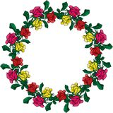 Wreath of red, yellow and pink roses Royalty Free Stock Image