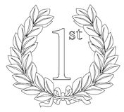 1st Laurel Wreath. A wreath with ribbon celebrating a 1st prize event such as a birthday or win stock illustration