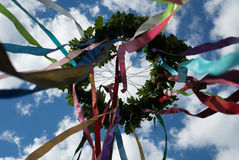 Wreath. With ribbons on Kupala Stock Photography