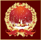 Wreath ribbonsa town in red royalty free illustration