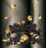 Wreath of roses. On an abstract background of a black wreath of gold roses Royalty Free Stock Photography