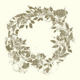 Wreath of roses and branches in the grunge style Stock Image