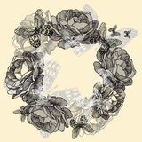 Wreath of roses, butterflies, hand-drawing. Vector Royalty Free Stock Image